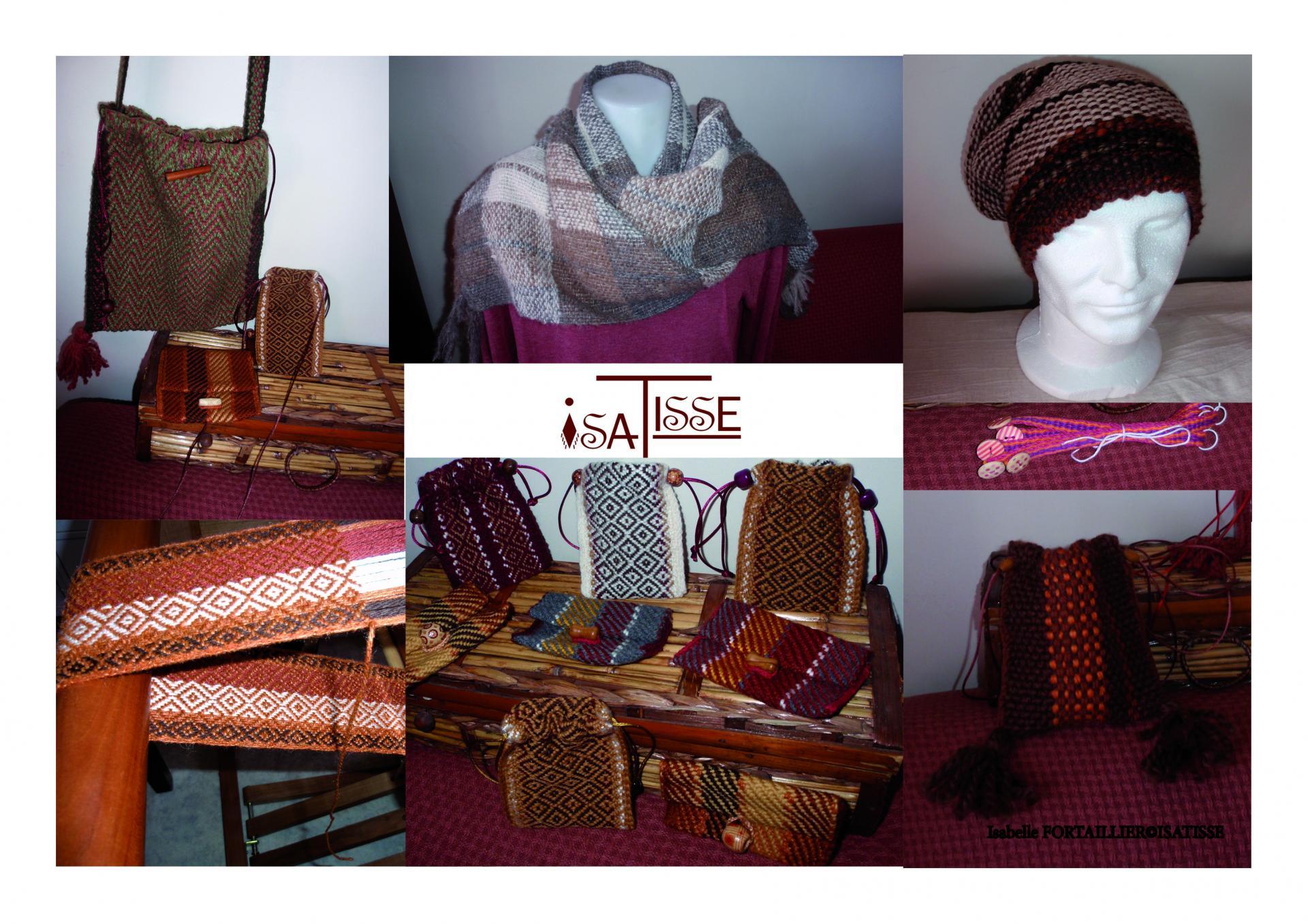 Bonnets en pure laine, sacs, pochettes, pochons, porte-monnaie en armure croisée