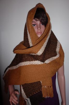 Grand châle en pure laine, armure losangée (